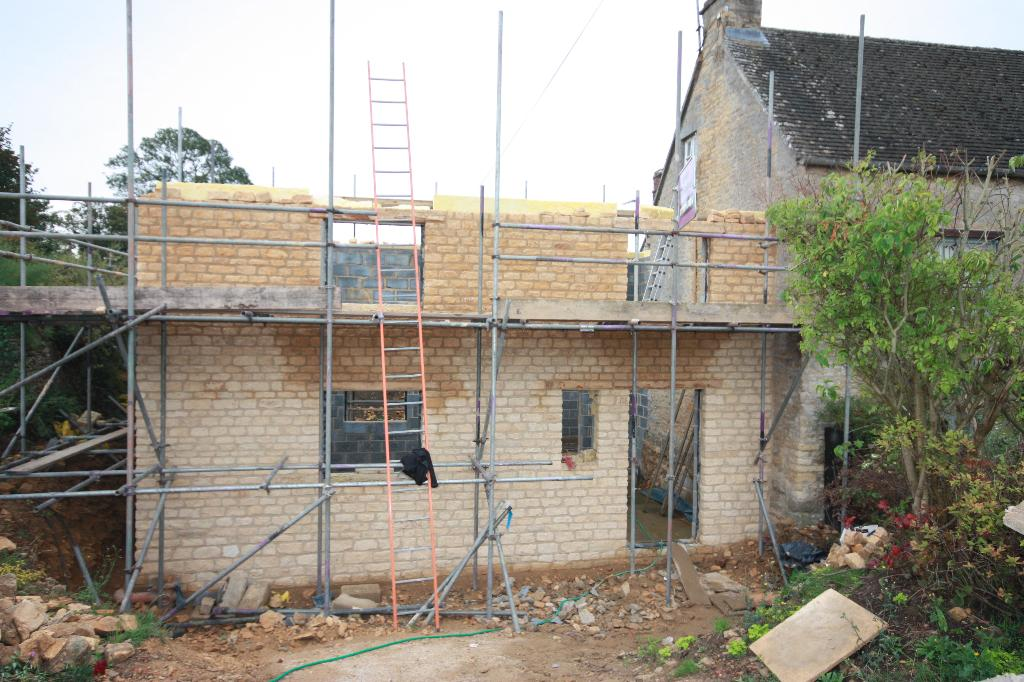 Stone Extension - during build - Church Enstone